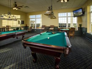 Billiards tables at Noble's Pond Clubhouse